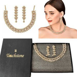 Touchstone White Crystals Necklace & Earrings Set